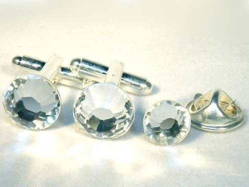 Wedding Crystal Cufflinks & Tie Tack Pin Set Gift made with SWAROVSKI ELEMENTS