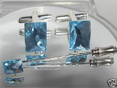 Wedding Crystal Groom Cufflinks & Cravat Tie Pin made with SWAROVSKI ELEMENTS