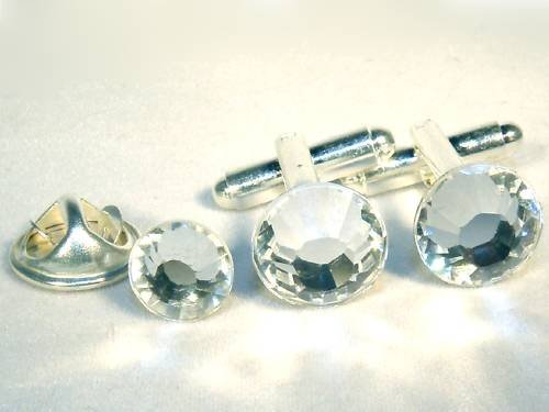2 Cufflinks Tie Tack Pin made with SWAROVSKI ELEMENTS