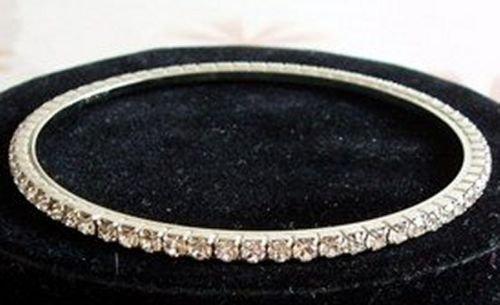 Clear Crystal Rhinestone Silver Bangle Bracelet Bridal