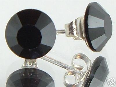 7mm Wedding Bridal Hematite Crystal Stud Earrings made with SWAROVSKI ELEMENTS