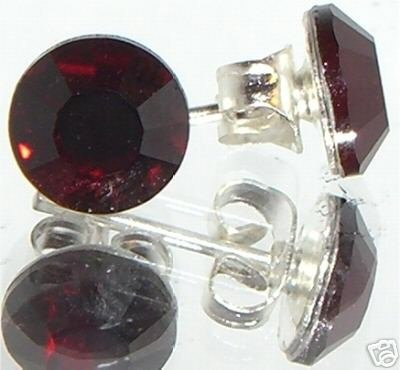7mm Wedding Bridal Gift Ruby Crystal Stud Earrings made with SWAROVSKI ELEMENTS