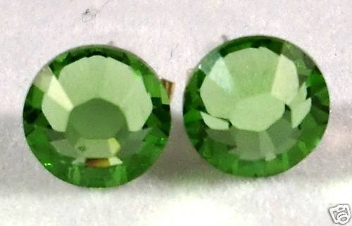 7mm Wedding Bridal Peridot Crystal Stud Earrings made with SWAROVSKI ELEMENTS