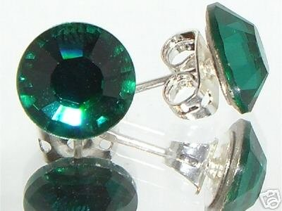 7mm Wedding Bridal Emerald Crystal Stud Earrings made with SWAROVSKI ELEMENTS