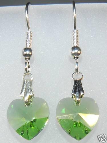 Wedding Bridal Gift Peridot Crystal Heart Earrings made with SWAROVSKI ELEMENTS