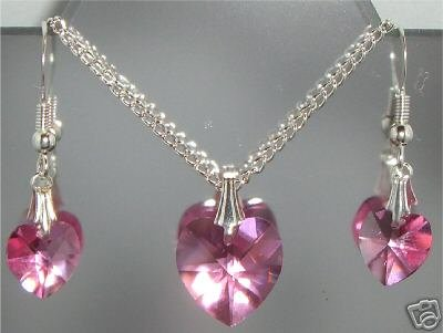 Wedding Bridal Crystal Heart Necklace & Earrings made with SWAROVSKI ELEMENTS