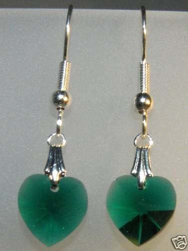 Wedding Bridal Gift Emerald Crystal Heart Earrings made with SWAROVSKI ELEMENTS