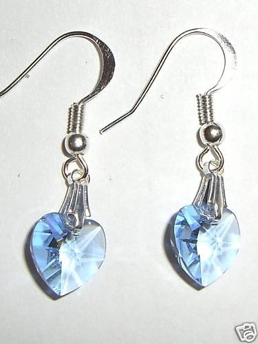 Sterling Silver Lt. Sapphire Crystal Heart Earrings made with SWAROVSKI ELEMENTS