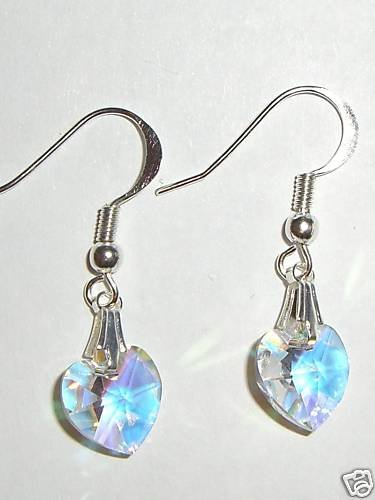 Sterling Silver Crystal AB Heart Earrings 925 Gift made with SWAROVSKI ELEMENTS