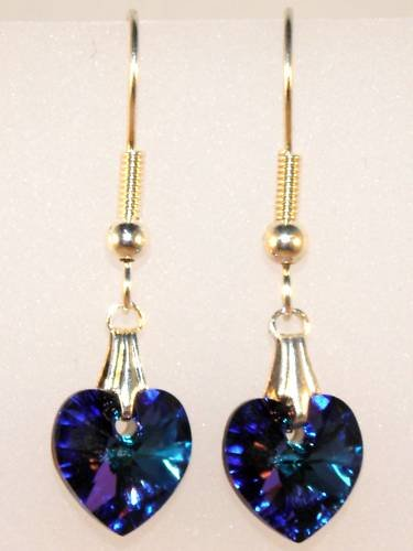 Wedding Bride Heliotrope Crystal Heart Earrings made with SWAROVSKI ELEMENTS