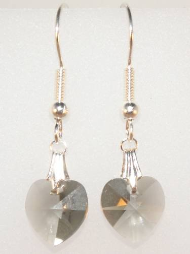 Wedding Bride Bl.Diamond  Crystal Heart Earrings made with SWAROVSKI ELEMENTS