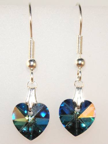 Wedding Bride Bermuda Blue Crystal Heart Earrings made with SWAROVSKI ELEMENTS