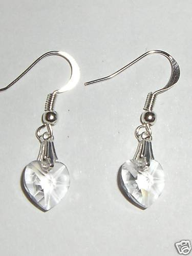 Wedding Valentine Gift Clear Crystal Heart Earrings made with SWAROVSKI ELEMENTS