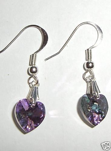 Wedding Bridal Lt. Vitrail Crystal Heart Earrings made with SWAROVSKI ELEMENTS