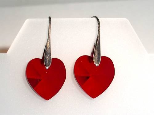 Wedding Xmas Gift Lt.Siam Crystal Hearts  Earrings made with SWAROVSKI ELEMENTS