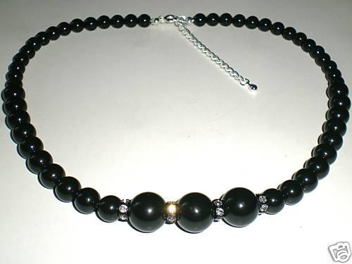 Wedding Choker Black Crystal Pearls & Rondelles made with SWAROVSKI ELEMENTS