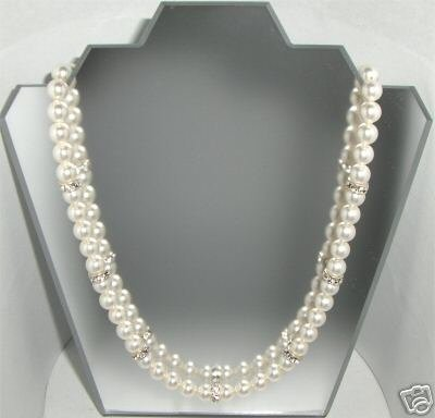 Wedding Bridal Favour Necklace Pearls & Rondelles made with SWAROVSKI ELEMENTS