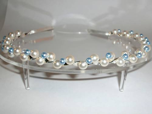 Wedding Bridal Headband Crystal Pearl Tiara Prom made with SWAROVSKI ELEMENTS