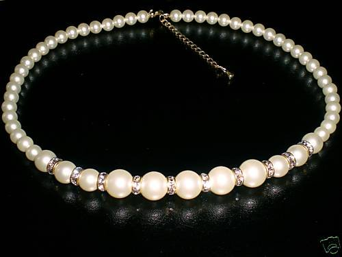 Wedding Choker White Crystal Pearls & Rondelles made with SWAROVSKI ELEMENTS