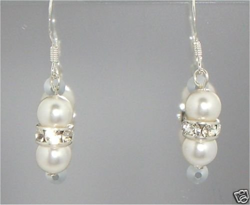 Wedding Xmas Gift Crystal Pearls Rondelles Earrings made with SWAROVSKI ELEMENTS
