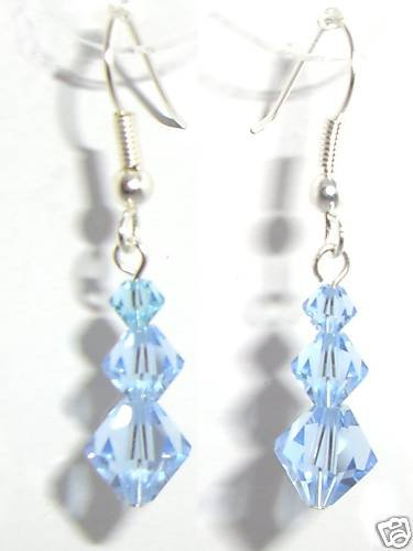 Sterling Silver Lt Sapphire Xmas Crystal Earrings made with SWAROVSKI ELEMENTS