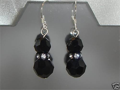Sterling Silver Xmas Valentine Jet Crystal Earings made with SWAROVSKI ELEMENTS