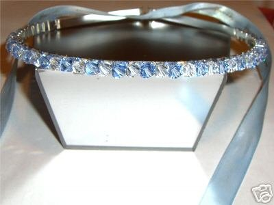 Bridal Headband Lt. Sapphire Crystal Tiara Prom made with SWAROVSKI ELEMENTS