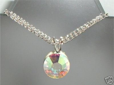 Wedding 11mm Flatback Crystal Clear AB Necklace made with SWAROVSKI ELEMENTS