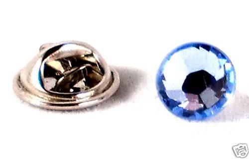 8.5mm Wedding Groom Crystal Aqua Lapel Tack Tie Pin made with SWAROVSKI ELEMENTS