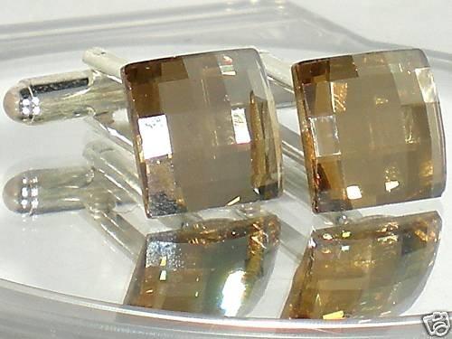Wedding Chess Golden Crystal Groom Usher Cufflinks made with SWAROVSKI ELEMENTS