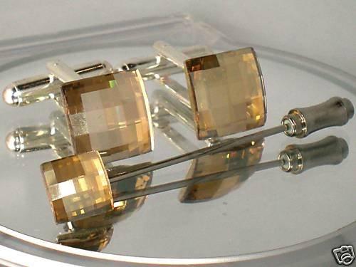 Wedding Golden Chess Crystal Cufflinks & Tie Pin  made with SWAROVSKI ELEMENTS
