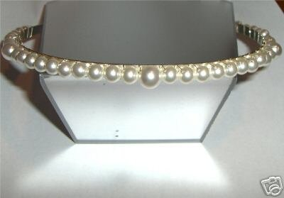 Wedding Bridal Bridesmaid Cream Crystal Pearl Tiara made with SWAROVSKI ELEMENTS