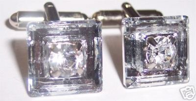 Wedding Party Groom Gift Square Crystal Cufflinks made with SWAROVSKI ELEMENTS
