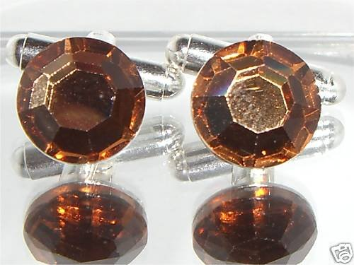 RARE! Wedding Party Gift Brown Crystal Cufflinks made with SWAROVSKI ELEMENTS
