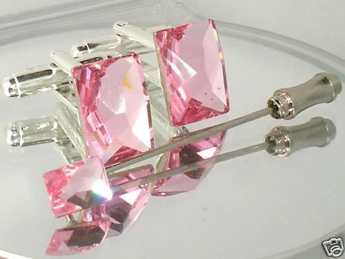 Wedding Rose Crystal Cufflinks & Cravat Tie Pin Set made with SWAROVSKI ELEMENTS