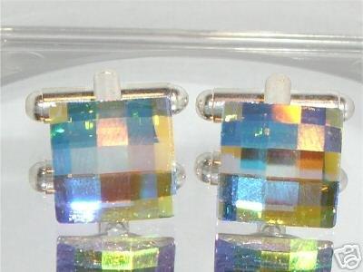 Wedding Chess Clear AB Crystal Groom Cufflinks made with SWAROVSKI ELEMENTS