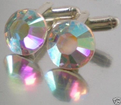 Wedding Party Groom Usher Gift Crystal AB Cufflinks made with SWAROVSKI ELEMENTS