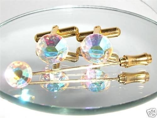 Wedding Crystal Golden Cufflinks & Cravat Tie Pin made with SWAROVSKI ELEMENTS