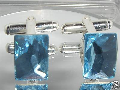 Wedding Cosmic Aqua Crystal Groom Usher Cufflinks made with SWAROVSKI ELEMENTS