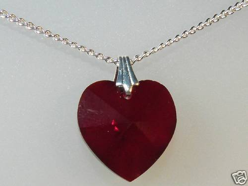 Sterling Silver 18mm Crystal Heart Pendant Necklace made with SWAROVSKI ELEMENTS