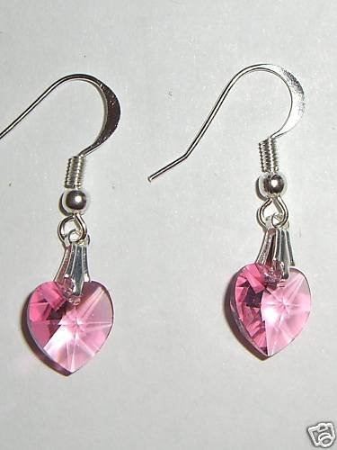 Sterling Silver Rose Crystal Heart  Earrings 925 made with SWAROVSKI ELEMENTS