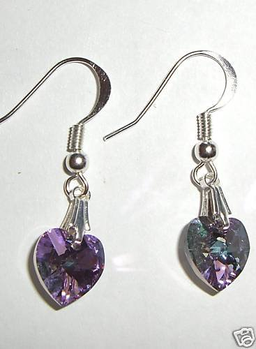 Sterling Silver Lt. Vitrail Crystal Heart  Earrings made with SWAROVSKI ELEMENTS