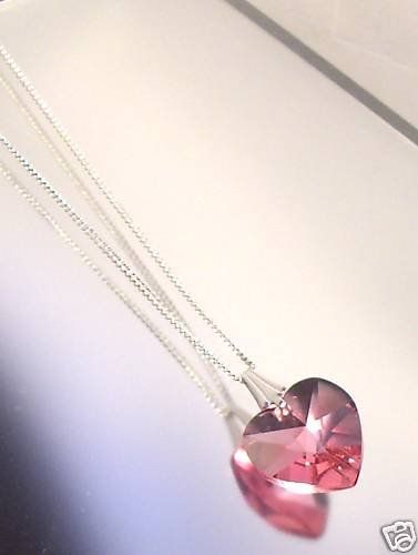 Sterling Silver Rose Crystal Heart Pendant Necklace made with SWAROVSKI ELEMENTS