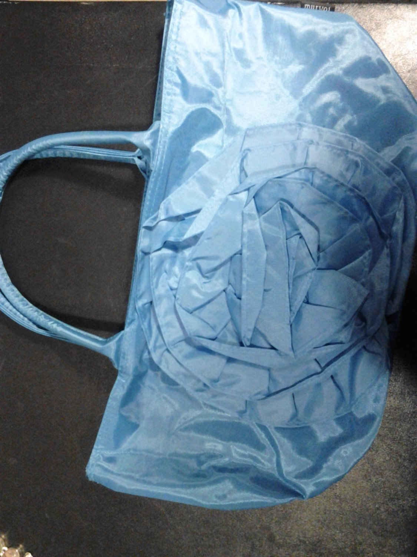 Large Brand New Beautiful Vinyl Blue Purse W/Front Flower