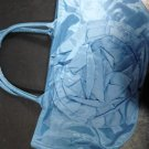 Large Brand New Beautiful Vinyl Blue Purse W/Front Flower