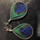 Small Green And Blue Dangled Thread Earrings