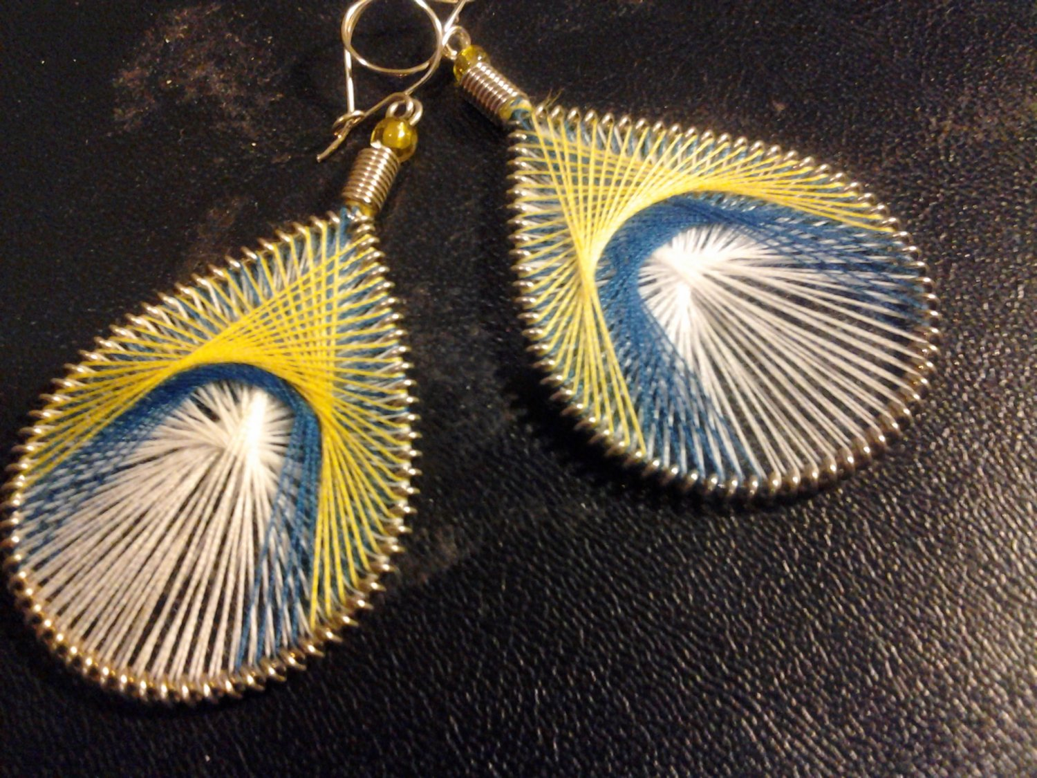 Brand New Large Yellow, Blue And White  Dangled Thread Earrings