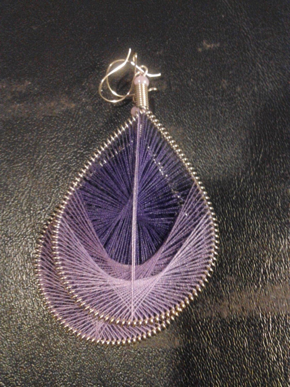 Brand New Large Purple Dangled Thread Earrings