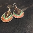 Small Brand New Dangled Brown,Orange, Green Thread Earrings