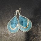 Brand New Small Light Blue And Gold Dangled Thread Earrings